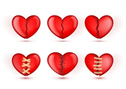 3D Broken Hearts vector Icons In Patches And Bandages On White Background. EPS10 Vector