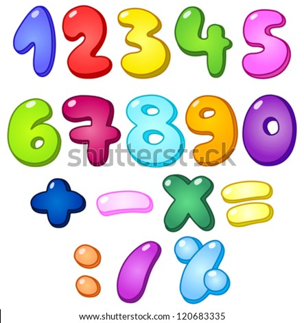 3d bubble shaped numbers and math signs set - stock vector