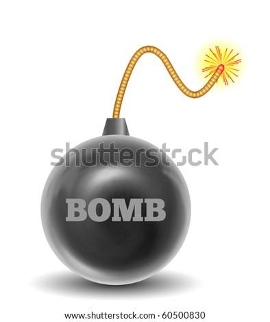 3D Burning Black Bomb (Vector)