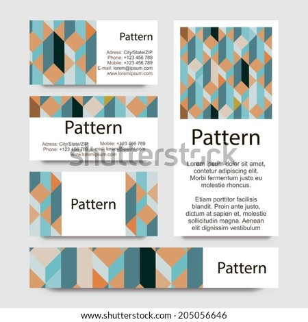 3d Business cards pattern with geometrical figures. RGB. Includes seamless pattern. #205056646