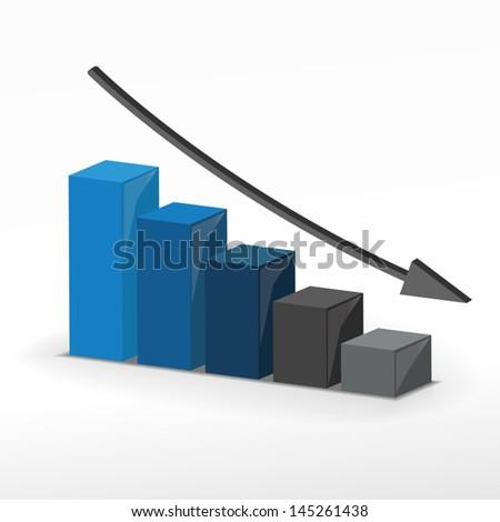3D business decline graph