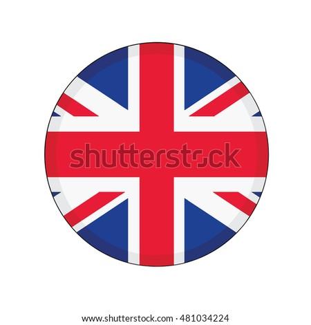 3D button Flag of United Kingdom. Vector illustration.