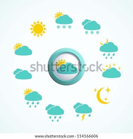 3d button with weather icons