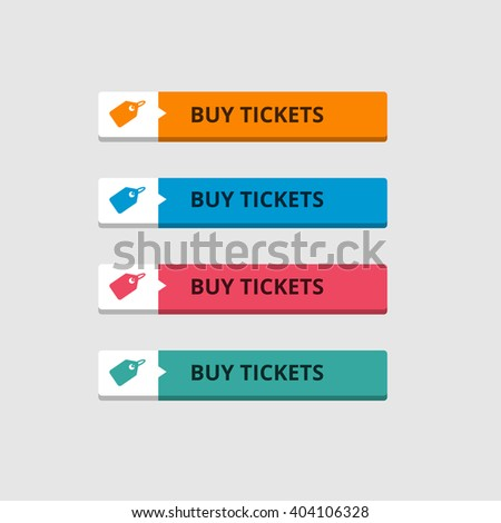 3d Buy Ticktets Button set with icons. beautiful text button. Orange Button, Blue Button, Red Button, Turquoise button. Call to action icon button. Flat Button Set. Vector Illustration