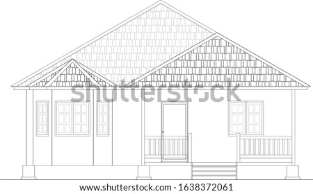 2D CAD drawing of single storey medium size house front elevation. The house floor was designed raise up from the ground. Drawing in black and white.   ストックフォト ©