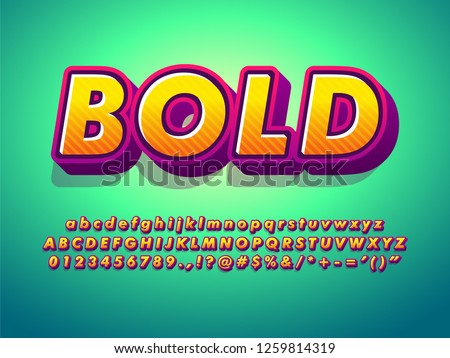 3d cartoon alphabet and friendly bold typeface font