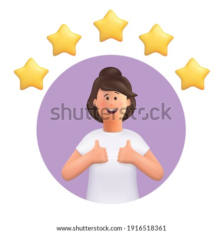 3D cartoon character. Young woman making good sign, shows gesture cool. Customer review rating and client feedback concept. Smiling cute brunette girl.  3d vector illustration.