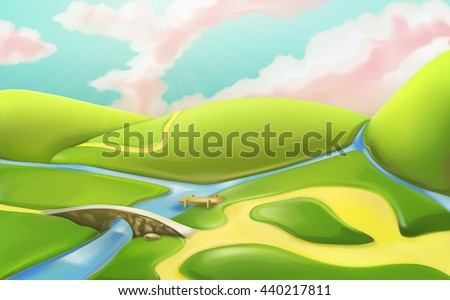 3d cartoon nature landscape