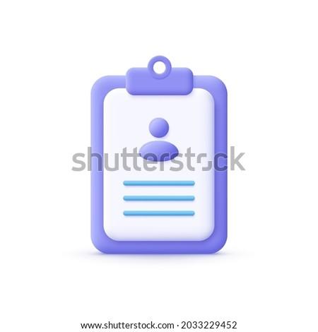 3d cartoon style minimal CV Resume icon. Job search, human resources, business, job interview, hr, recruitment concept.  Foto d'archivio ©