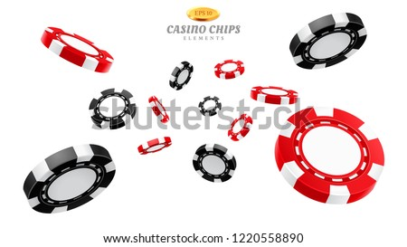 3d casino chips or flying realistic tokens for gambling, entertainment house volumetric blank or empty cash for roulette or poker, blackjack. Gamble and winner, risk and luck, betting and fortune