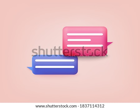 3d Chat bubble. Talk, dialogue, messenger or online support concept.