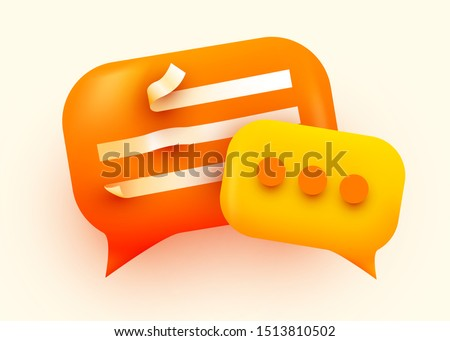 3d Chat bubble. Talk, dialogue, messenger or online support concept. concept. Vector illustration