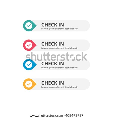 3d Check in Button set with icon. beautiful text button with icon. Orange Button, Blue Button, Red Button, Turquoise button. Call to action icon button. Flat Button Set. Vector Illustration