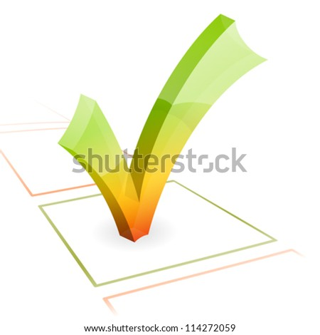 3D Check Mark, isolated on white, vector illustration