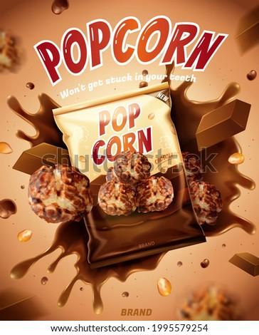 3d chocolate popcorn ad. Illustration of tasty chocolate popcorn with flying seeds, chocolate bar and splashing flavored syrup
