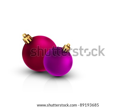 3D Christmas Balls on Clean White Background | Color of the balls can be change with 1 click | Separate Layers Named Accordingly