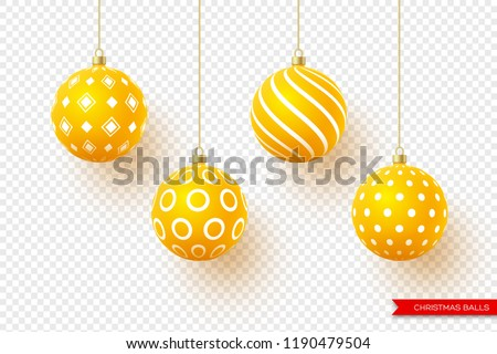 3d Christmas yellow balls with geometric pattern. Decorative elements for holiday new year design. Isolated on transparent background. Vector illustration.