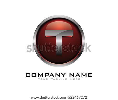 3d chrome circle letter t logo design template
