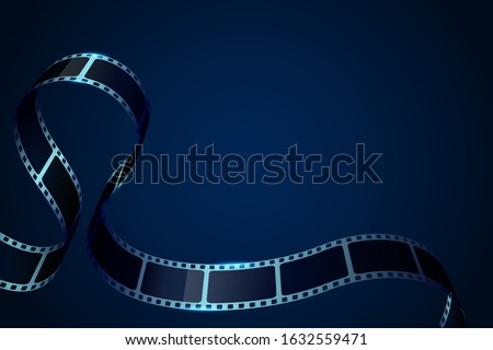 3D cinema film strip in perspective. Vector template cinema festival with place for text. Movie design with cinema film strip for festival, brochure, poster, banner or flyer.Film entertainment concept
