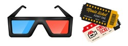 3d cinema glasses and two movie tickets of different designs. Blue and red 3d glasses. 3D realistic vector illustration isolated on white background.