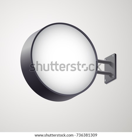 3D circular signboard mock up isolated on gray background. Circular illuminated lightbox with empty space for design. Applicable for restaurant, hotel, night club logo presentation. Vector eps 10.