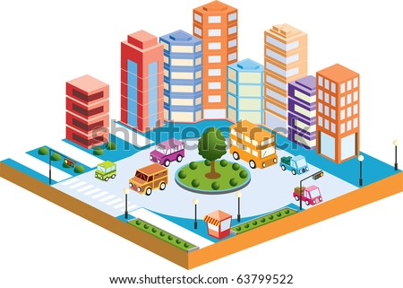 3D city with  transport and buildings