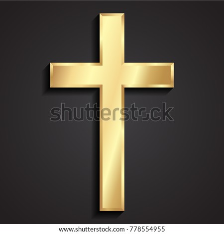 3d classic shape simple golden shiny metal cross