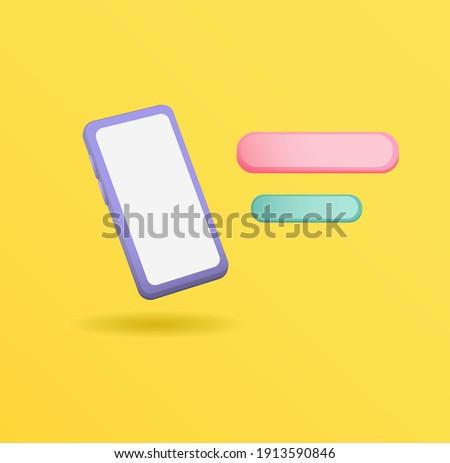 3d clay mockup Smartphone illustration with ballon chat concept realistic editable vector