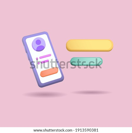 3d clay Smartphone illustration with ballon chat concept vector