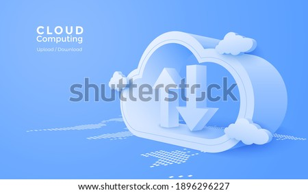 3d Cloud computing online app with data transfering service. Digital technology background. Vector art illustration.