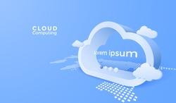 3d cloud computing service. Digital technology background. Vector art illustration