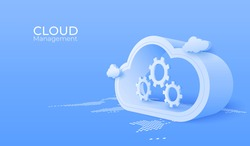 3d Cloud computing service management. Digital technology background. Vector art illustration