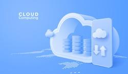 3D Cloud computing upload and download data online service with mobile. Digital technology background. Vector art illustration