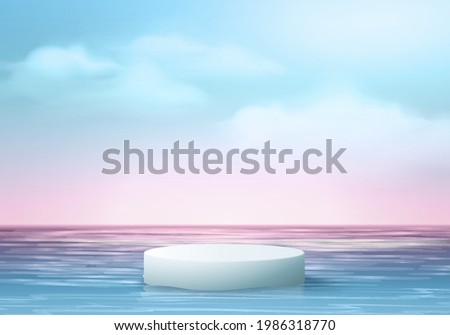 3d cloud summer background product display podium scene with cloud platform. summer background vector 3d render on ocean, podium display in sea. stand show cosmetic product display blue sky cloud