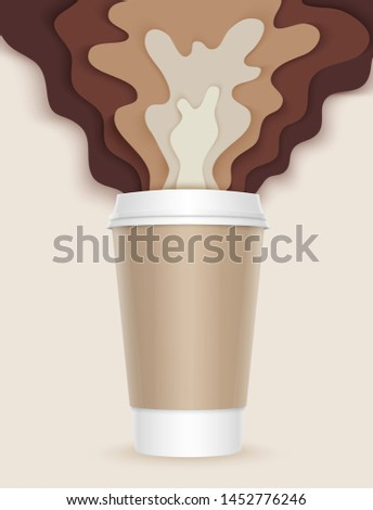 3d coffee cup with papercut coffee splashes and shadows. Coffee splash. Disposable takeaway paper vector coffee cup in realistic style