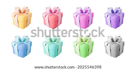 3d color gift boxes set with pastel ribbon bow isolated on a white background. 3d render flying modern holiday closed surprise box. Realistic vector icon for present, birthday or wedding banners