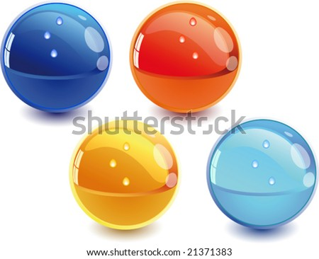 3d Color vector spheres with color shadows and water drops.