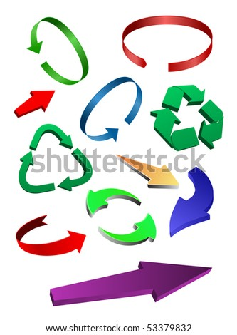 3d colored arrows set. vector
