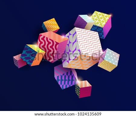 3d colorful decorative cubes