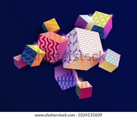 3d colorful decorative cubes