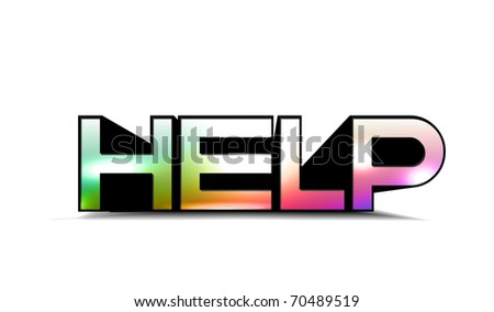 3d colorful help text , isolated on white background.