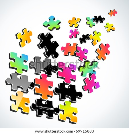 3d Colorful Puzzle Vector Design