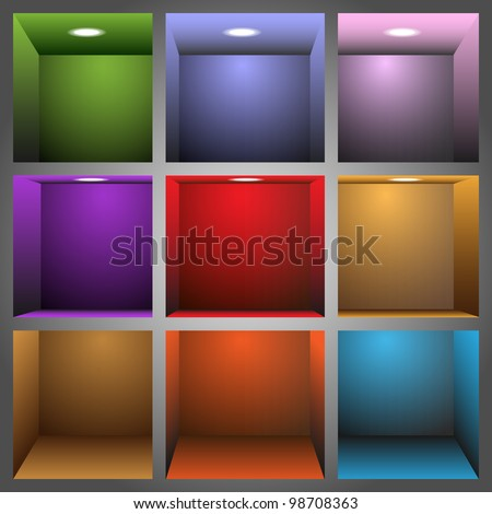 3d colorful shelves.Vector eps10