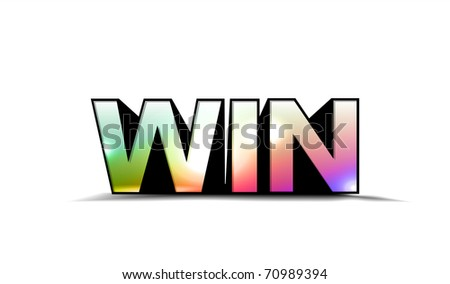 3d colorful win text, isolated on white background.