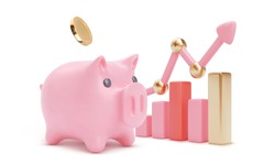 3d colour growing bars with large piggy bank and arrow. Piglet and coins. Money saving or accumulating, Financial services, Deposit concept. Isolated vector illustration for banner, poster, advertisin