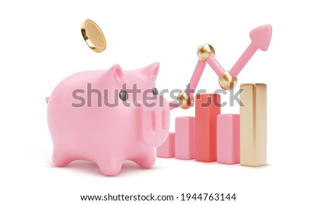 3d colour growing bars with large piggy bank and arrow. Piglet and coins. Money saving or accumulating, Financial services, Deposit concept. Isolated vector illustration for banner, poster, advertisin Photo stock ©