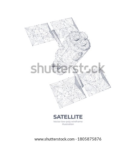 3d communications satellite isolated in white. Wireless satellite technology, mobile communication, internet, TV and radio concept. Abstract vector sketch with lines and dots. Low poly wi