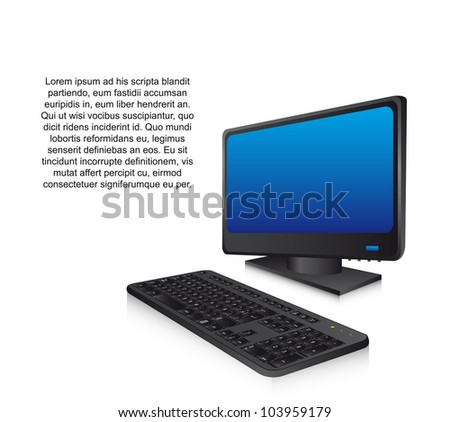 3d computer with keyboard, technology. vector illustration