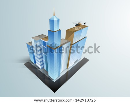 3D concept of building construction, architecture modern city designing concept.
