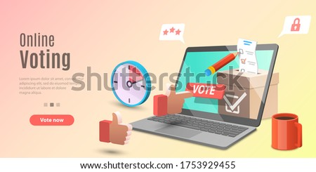 3d Concept of Online Voting App, E-voting, Internet Election System. Vector Template For Web Banner or Website Landing Page. Сток-фото ©